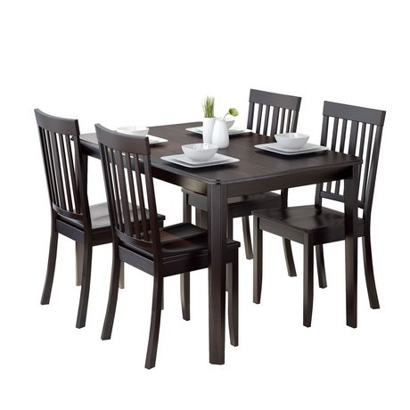 atwood 5 piece dining set with cappuccino stained chairs
