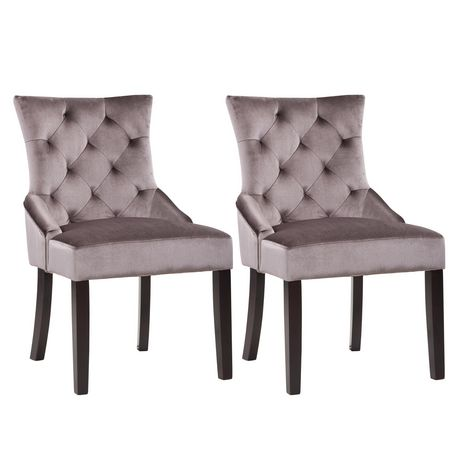 CorLiving Antonio Set Of 2 Dark Grey Velvet Accent Chair | Walmart Canada