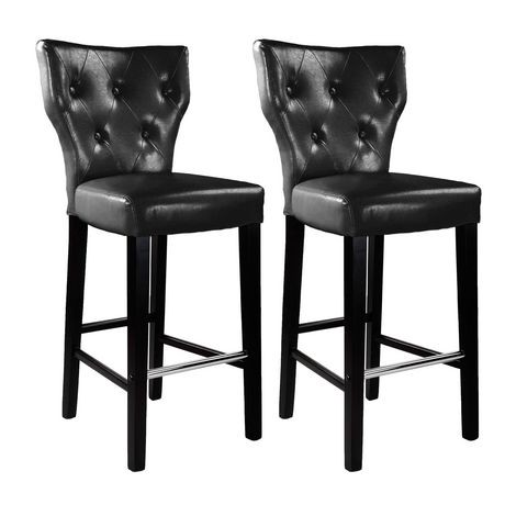 Corliving Kings Set Of 2 Black Bonded Leather Counter