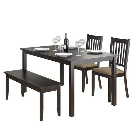 Corliving ensemble de salle manger avec banc et chaises cappuccino 4 pi ces walmart canada - Salle a manger avec banc ...
