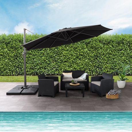 CorLiving PPU-500-U 11 ft Deluxe Offset Patio Umbrella in Black | Walmart.ca - CorLiving PPU-500-U 11 Ft Deluxe Offset Patio Umbrella In Black