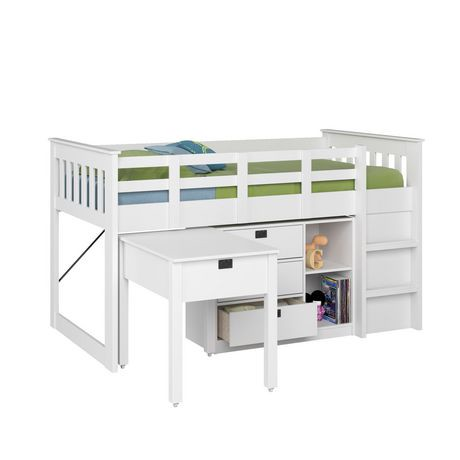 Corliving ensemble tout en un lit mezzanine collection madison 1 place simple blanc d hiver - Lit mezzanine 1 place blanc ...