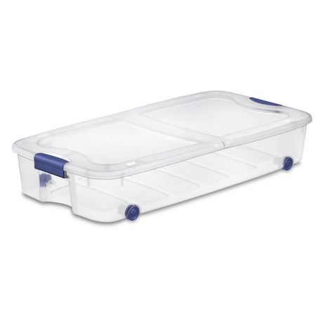 Sterilite Ultra 62 L Stadium Blue Wheeled Underbed Storage Box