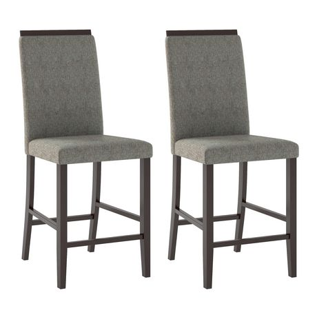 corliving bistro set of 2 pewter grey fabric counter height dining chairs walmartca