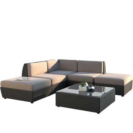 Corliving Pps 607 Z Seattle Curved Chaise Lounge Sectional