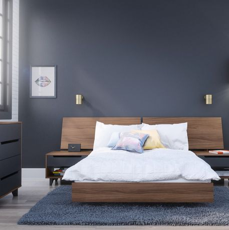 lit plateforme double alibi de nexera en noyer. Black Bedroom Furniture Sets. Home Design Ideas