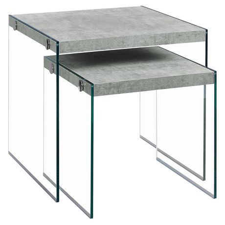 Monarch Specialties 2 Piece Grey Nesting Table Set Walmartca