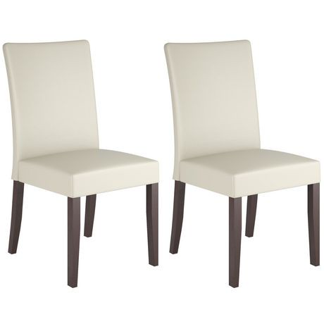 corliving atwood cream leatherette dining chairs | walmart canada