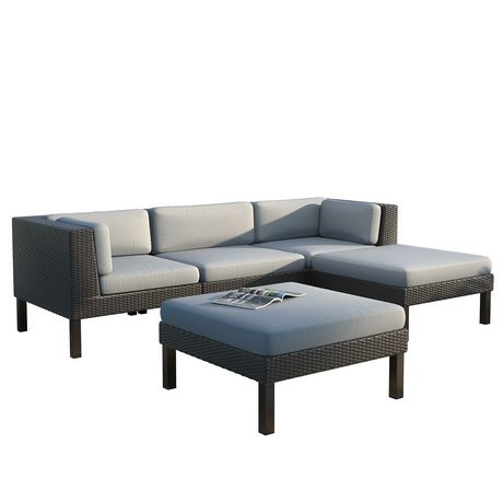 CorLiving PPO 804 Z Oakland Sofa With Chaise Lounge Patio Set