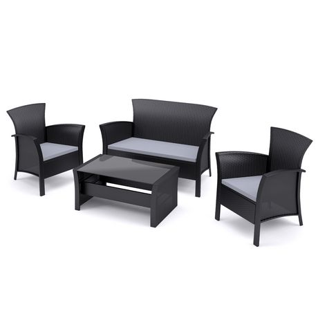 CorLiving 4pc Black Rope Weave Cascade Patio Set - image 2 of 6