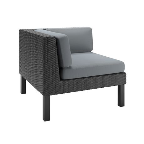 CorLiving PPO-801-L Oakland Textured Black Weave Patio Corner Seat - image 2 of 3