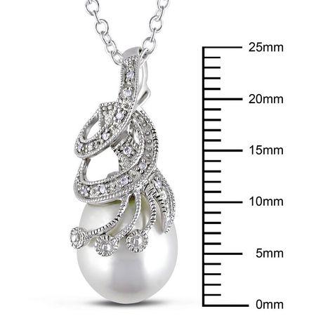 Miabella Pendentif au détail miligrain avec perle d'eau douce blanche de culture en forme de riz 10-10.5 mm et accent de diamants en argent sterling, 18 pouces en longueur - image 2 de 2