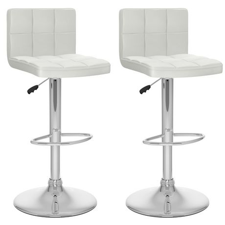 Pleasant Corliving B 417 Upd High Back Adjustable Bar Stool In White Leatherette Set Of 2 Unemploymentrelief Wooden Chair Designs For Living Room Unemploymentrelieforg