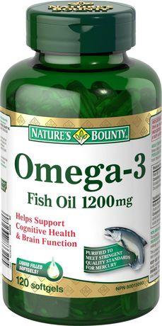 Nature 39 s bounty omega 3 1000mg 180 softgels walmart canada for Fish oil pills walmart