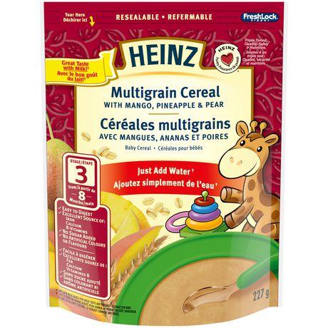 Céréales multigrains Heinz pour bébé avec mangues, ananas et poires - image 1 de 2