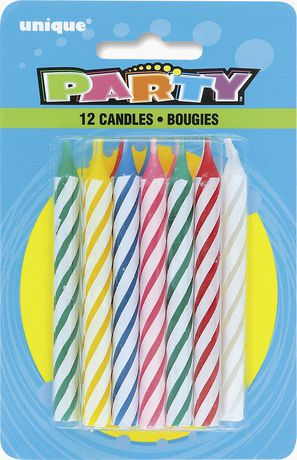 Unique Party Favors 12 Spiral Candles, Multi - image 1 of 1