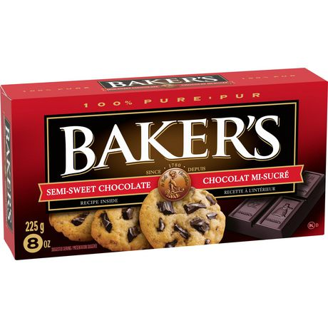 Barre de chocolat mi-sucré 100 % pur Baker's pour la cuisson - image 2 de 4