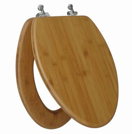 Siège de toilette allongé en bois de bambou naturel foncé et une finition impeccablement lisse à charnière chromée avec couvercle qui ferme régulièrement de TopSeat - image 1 de 2