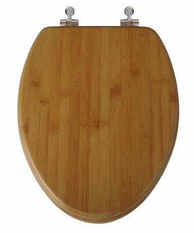 Siège de toilette allongé en bois de bambou naturel foncé et une finition impeccablement lisse à charnière chromée avec couvercle qui ferme régulièrement de TopSeat - image 2 de 2