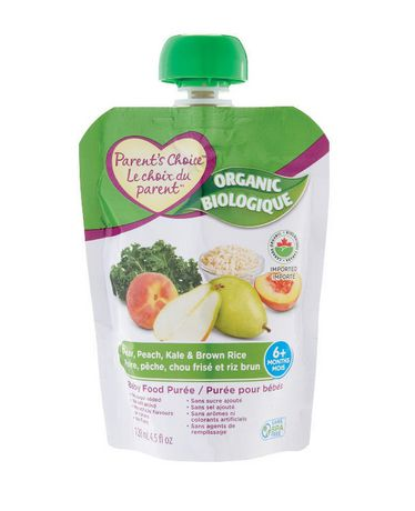 Parent's Choice Organic Pear, Peach, Kale & Brown Rice Baby Food Purée - image 1 of 2