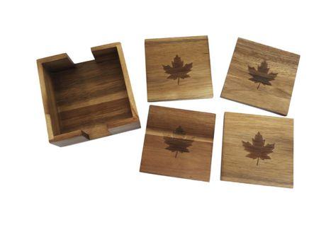 Ens. de 4 sous-verres Canadiana en bois d'acacia - image 1 de 1