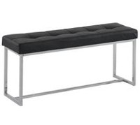 Tufted faux leather/chrome double bench Black