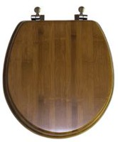TopSeat Nature Bamboo Dark Wood Grain Impeccably Smooth Finish Round Regular Lid Closure Chrome Hinge Toilet Seat