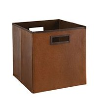 Faux Leather Bin - Brown