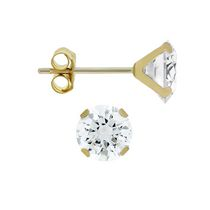 Aurelle- 10KT Yellow Gold Boxed Earrings with 4MM Round Swarovski Cubic Zirconia