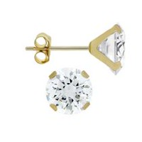 Aurelle- 10KT Yellow Gold Boxed Earrings with 7MM Round Swarovski Cubic Zirconia