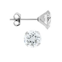 Aurelle- 10KT White Gold Boxed Earrings with 5mm Round Swarovski Cubic Zirconia