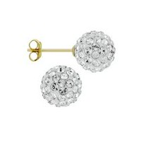 Aurelle- 10KT Yellow Gold Boxed Earrings with 7.8mm Swarovski Crsytals Balls