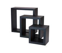 hometrends 3-Piece Wall Cube Black Shelf Set