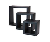 hometrends 3-Piece Wall Cube Black Shelf Set
