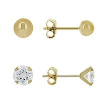 Aurelle- 10KT Yellow Gold Earring Set with 3mm Round Swarovski Cubic Zirconia & 3mm Gold ball Earrings