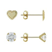 Aurelle- 10KT Yellow Gold Earring Set with 3mm Round Swarovski Cubic Zirconia & Heart Earrings