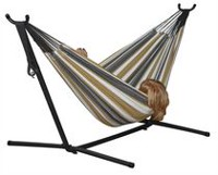 Vivere's Combo - Double Hammock with Stand (8ft) Grey Combo