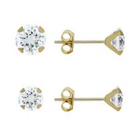 Aurelle- 14KT Yellow Gold Earring set with Swarovski 3mm Round & 4mm Round Cubic Zirconia