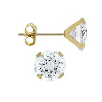 Aurelle- 14KT Yellow Gold Earrings with Swarovski 6mm Round Cubic Zirconia