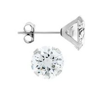 Aurelle- 14KT White Gold Earrings with Swarovski 7mm Round Cubic Zirconia
