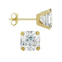 Aurelle- 14KT Yellow Gold earrings with Swarovski 6mm Cushion Cubic Zirconia