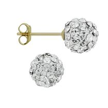 Aurelle- 14KT Yellow Gold Swarovski White 6.8mm Crystal ball earrings