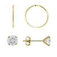 Aurelle- 14KT Yellow Gold Swarovski White Cystal Flower earrings