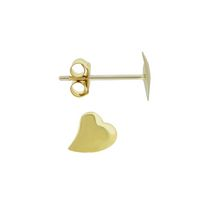 Aurelle 14KT Yellow Gold Offset Polished heart earrings