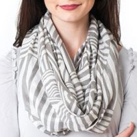 Labor of Love Ladies' Multi-functional Infinity Nursing Scarf Abstract Lines - Grey CBO