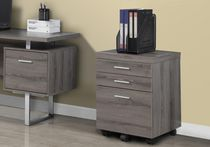 Monarch Specialties Filing Cabinet With 3 Drawer On Castors - Dark Taupe