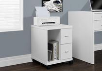 Monarch Specialties Office Cabinet With 2 Drawers On Castors - White