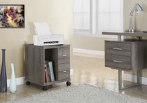 Monarch Specialties Office Cabinet With 2 Drawers On Castors - Dark Taupe