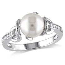 Miabella 8-8.5mm White Round Cultured Freshwater Pearl and Diamond-Accent Sterling Silver Cocktail Ring 9