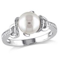 Miabella 8-8.5mm White Round Cultured Freshwater Pearl and Diamond-Accent Sterling Silver Cocktail Ring 6